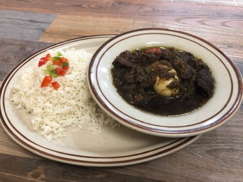 WHITE RICE and Plantain Served with (FRIED STEW)