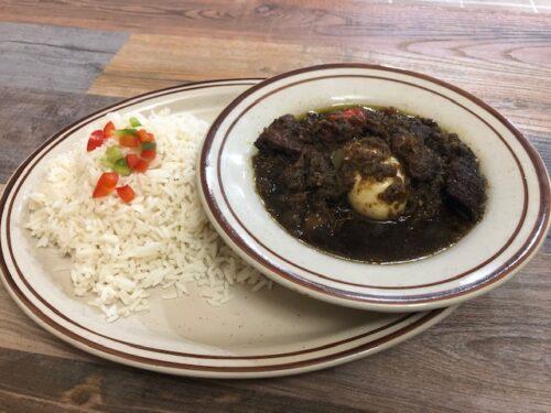 WHITE RICE with plantain serves with Buka Stew (AYAMASE)